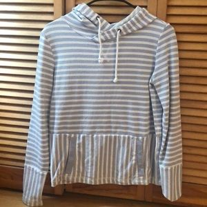 jcrew blue and white stripe sweatshirt